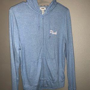 PINK powder blue zip up hoodie